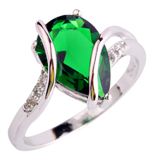 Fashion Jewelry Absorbing Green Emerald Quartz 925 Silver Ring Size 6 7 8 9 10 Women Gift  for loves' Free Shipping Wholesale