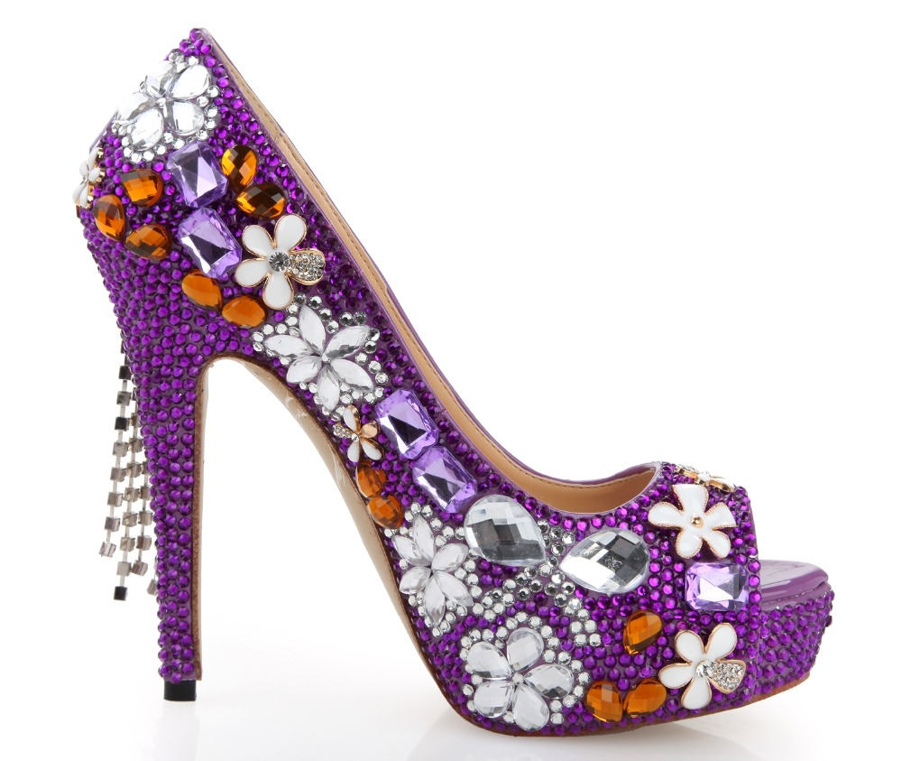 Purple Floral Heels - Is Heel