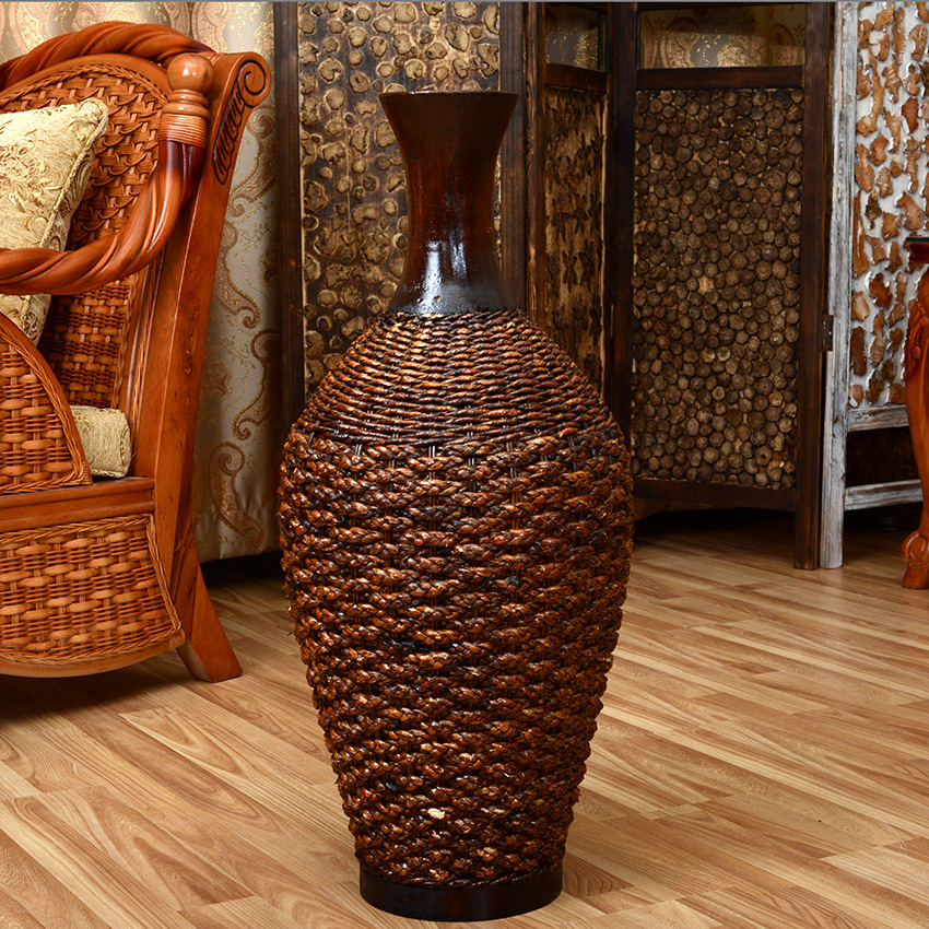 Bamboo handmade rustic rattan countertop desktop dried for Decoration vase