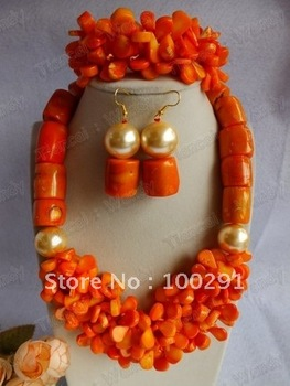 Handmake New Design orange coral necklace bracelet and earrings custome ladies stone jewelry set