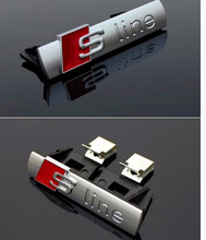 S Line Sline Front Grille Emblem Badge Chromed Plastic ABS -Front grille mount for Audi A1 A3 A4 A4L A5 A6L S3 S6 Q5 Q7 Label (China (Mainland))
