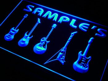 qp-tm Name Personalized Custom Guitar Hero Weapon Band Music Room Bar Neon Sign