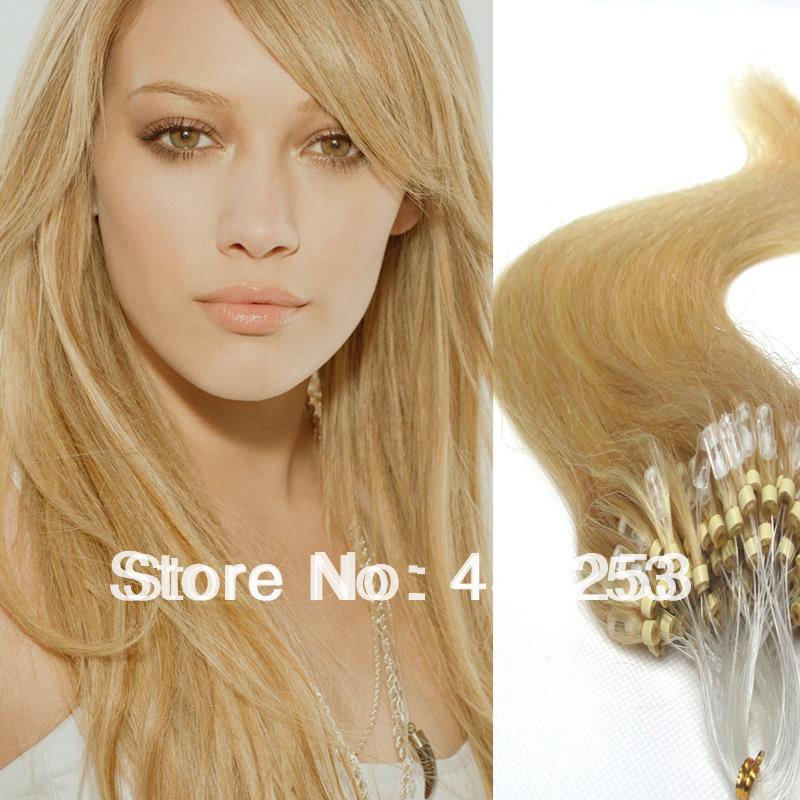 18 inch 20 #24 Light Honey Blonde Brazilian Virgin Human Hair Micro Rings Links Loops Extensions Silky Straight - Fashion&Hair Beauty store