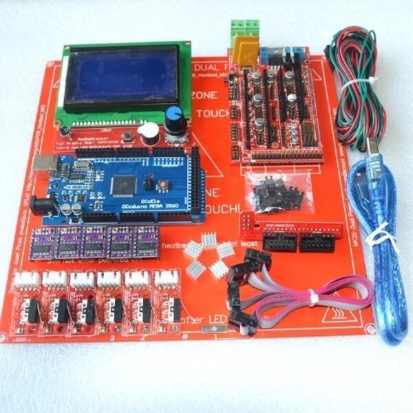 Reprap Ramps 1.4 Kit With Mega 2560 r3 + Heatbed mk2b + 12864 LCD Controller + DRV8825 +Mechanical switch +Cables For 3D Printer(China (Mainland))