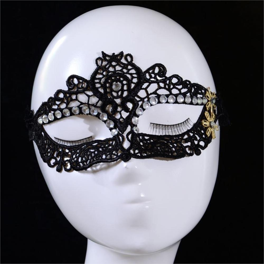 Hot Sale Diamond Yellow Flower Black Lace Mask Patch For Masquerade Fancy Costume Party Ball Masks(China (Mainland))