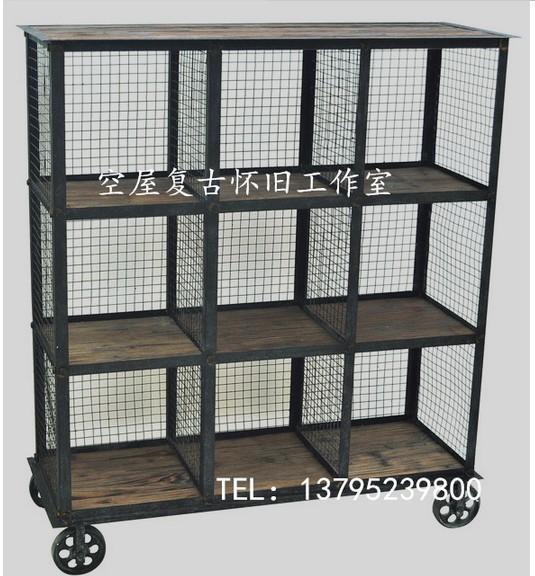 American country style wrought iron loft industrial wood shelf bookcase shelf creative display mesh(China (Mainland))