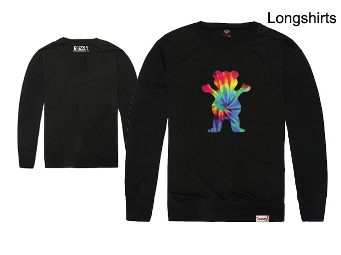 5 Colors Hot Sale Spring & Autumn Cotton Primitive x Diamond Supply x Grizzly Colorful Bear Men's O-Neck Long Sleeve Tee Shirts(China (Mainland))