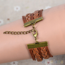 Hot Fashion Female Girl Women Vintage Butterfly Decoration Bracelet Faux Leather Weave Bangle Wristband 0SDN
