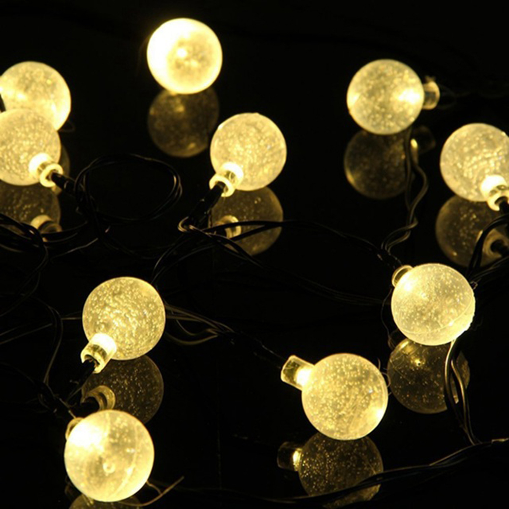 Outdoor/indoor Solar Powered String Crystal Ball Light Waterproof 20 LED for Christmas Wedding Holiday Garden(China (Mainland))