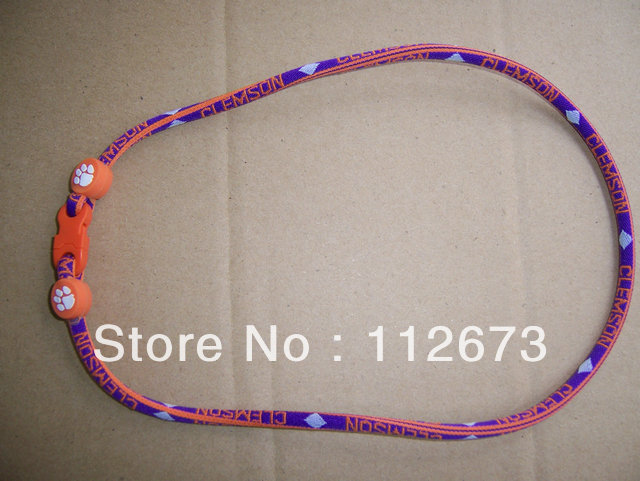 by DHL  us college ncaa football  single ropes  .Clemson TIgers,  titanium sport necklace  , Each team   100pcs<br>