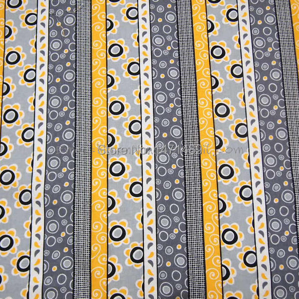 ht081 1 Yard Brother Sister Cotton Woven Fabric Yello Gray Flower Stripe, W105