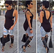 black womens tops fashion 2015 summer style womens shirt tops sexy open back long t shirt women tops tee XD104(China (Mainland))