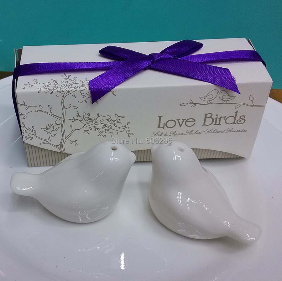 Wholesale 200pcs(100sets)/lot wedding favor and gifts love birds salt and pepper shakers present for party supplies(China (Mainland))