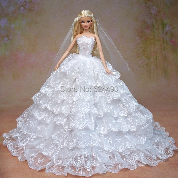 White Marriage ceremony Gown + Veil + Bouquet/set Multi-layers Lace Large Bride Robe Clothes Outfit Garments For 1/6 Kurhn Barbie Doll