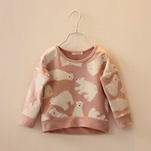 Free shopping 2014 spring girls clothing child baby polar bear loop pile cotton sweatshirt pullover sweaters t-shirt outerwear(China (Mainland))