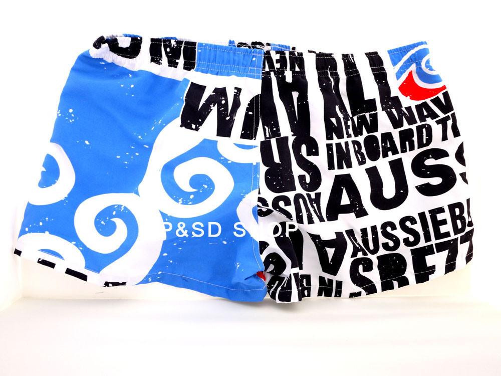 Mens summer Hot Swimwear Swimming Trunks Cool Swim Beach Sea Board Surf Shorts leisure blue letters Size M L XL - Alipower Youth's store