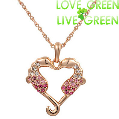2014 new arrival Wholesales women brand Fashion 18KGP Import Czech Rhinestones Heart sea horse Pendant Necklace Jewelry 80175(China (Mainland))