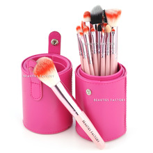 Beauties Factory 18pcs Makeup Brushes Pink Leather Brush Stand