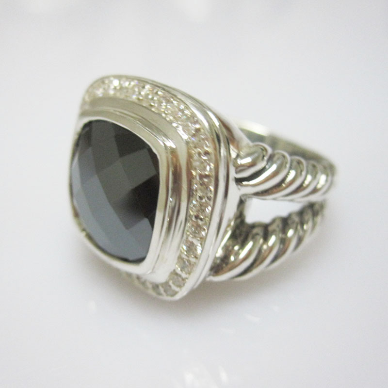 925 sterling silver jewelry hematite and cubic zircon ring(China (Mainland))