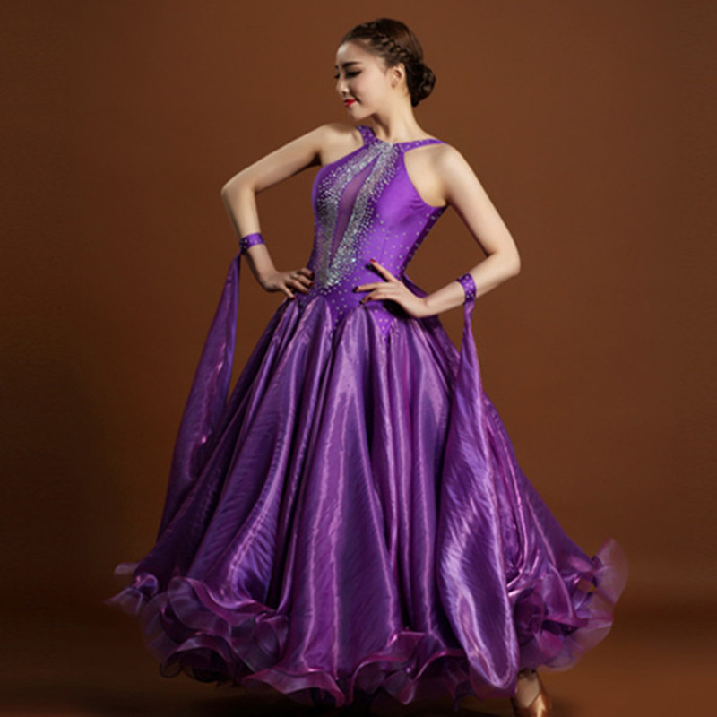 Exquisito purple rhinestone vestidos de salón de baile dance competition dress para el baile de salón de baile vals dress tango foxtrot