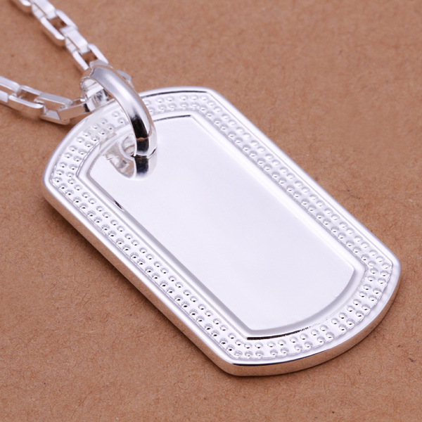 Cool Men necklaces 925 Silver Necklace Fashion Sterling Silver Jewelry, dog tag pendant Necklace for women jewelry(China (Mainland))
