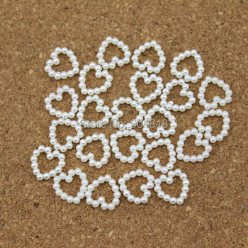 100pcs/lot 10mm*10mm Heart White Flat Back Simulated Pearls Beads For Phone Decoration DIY Jewelry Material F1521