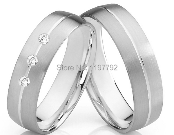 luxury tailor made white gold color color titanium wedding rings sets for him and her - Cheap Wedding Ring Sets For Him And Her