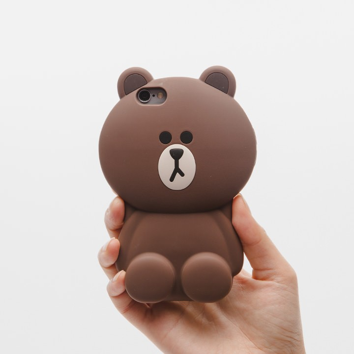 Cute Line Bear Friends Silicon Case Cover For Apple iPhone 6 4.7 6plus 5.5 Brown bears/Cony bunny 3D Cartoon Phone Skin(China (Mainland))