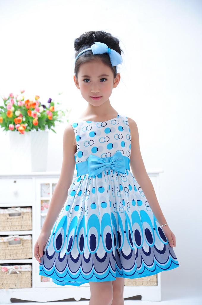 Kids Girls Dress cute peacock color sleeveless princess dress circle Korean Fashion Blue children's clothing New - Humor Bear official store