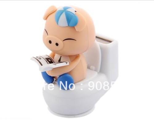 Free Shipping 6Pcs Per Lot Swing Under Sunshine No Battery Novelty Toy Car Decoration Closestool Pig Solar Christmas Gift(China (Mainland))