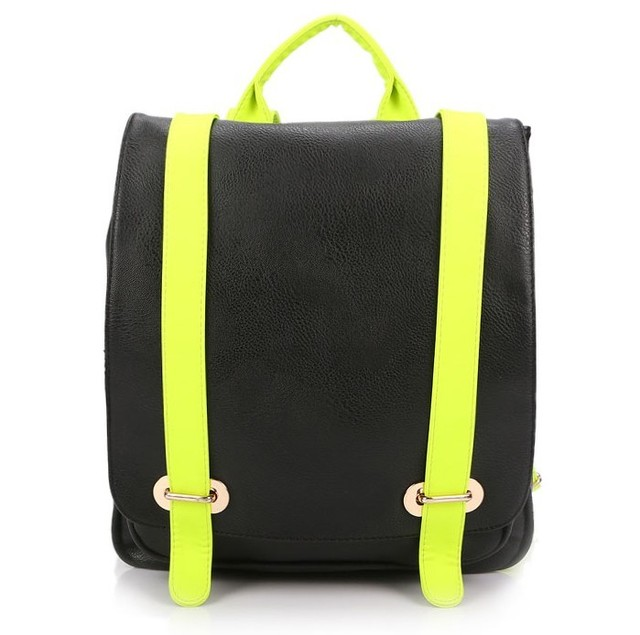 Spring full 2013 PU casual neon color strap color block backpack fashion women's handbag