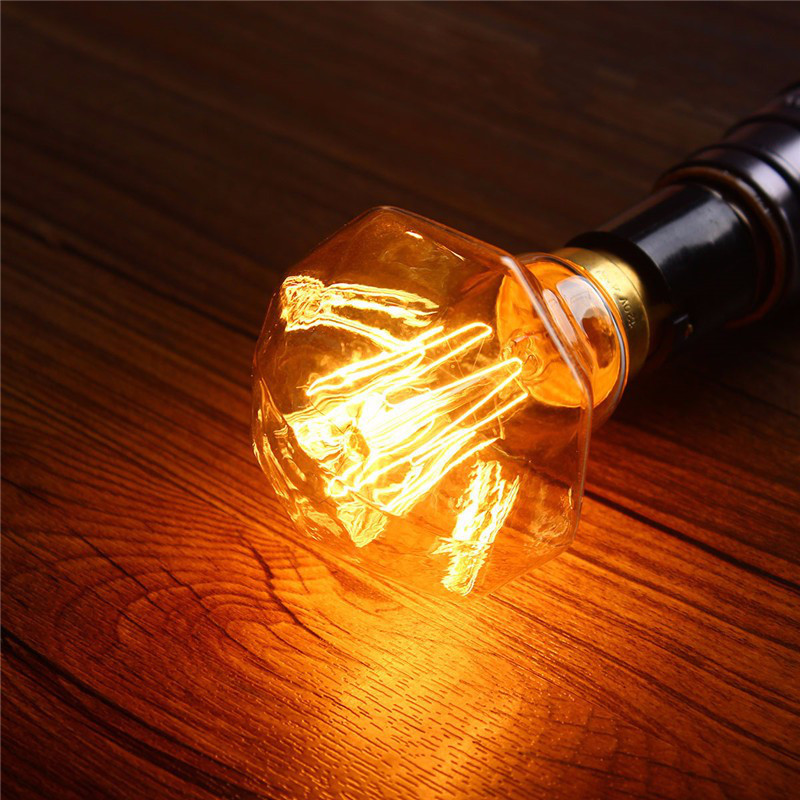 Light Bulb Industry: B22 40W Industrial Retro Vintage Antique Edison Diamond Tungsten Bulb  Filament Lamp Light Energy Saving 110V,Lighting