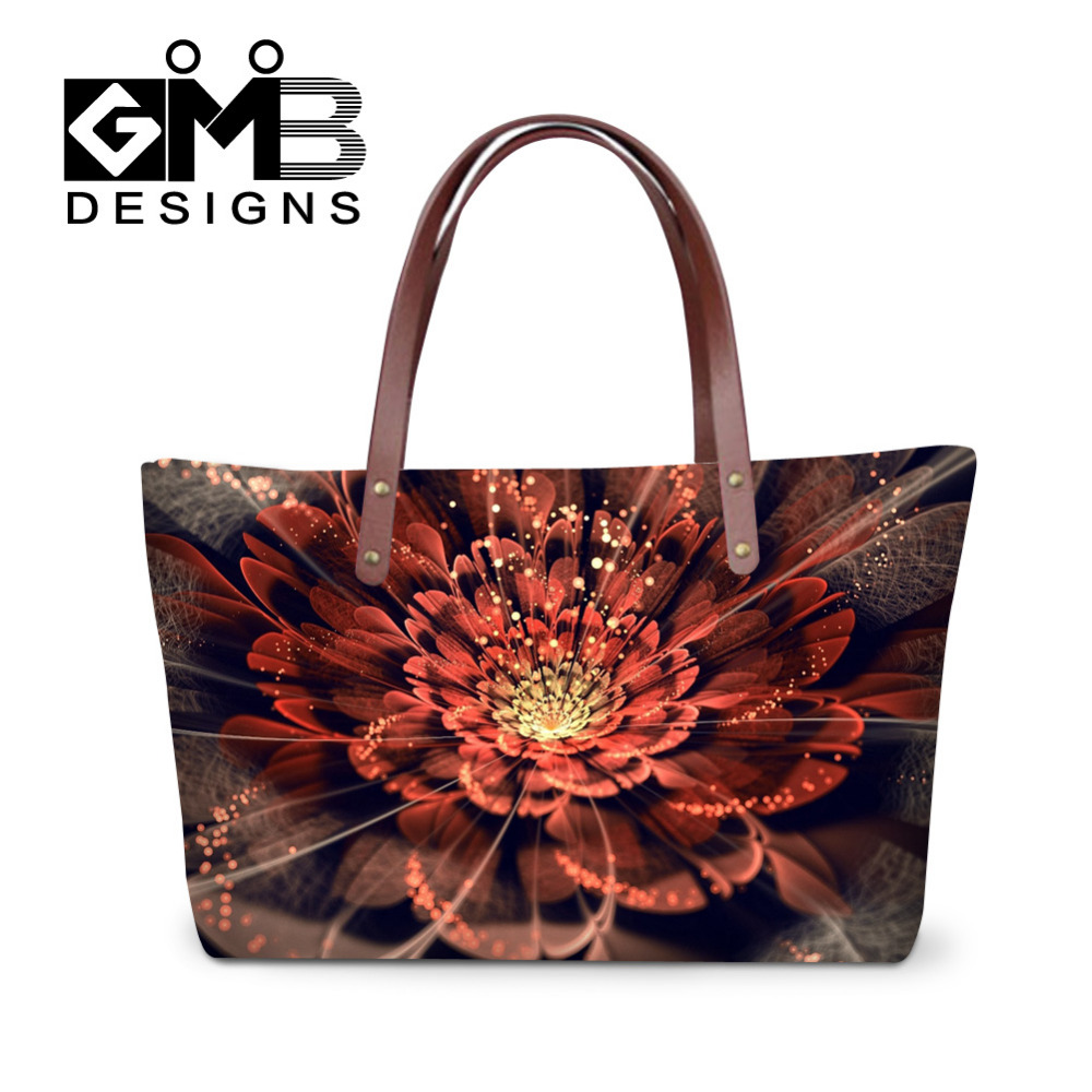 Fashion Design Handbags Shinny Flower 3D Print Large Capacity Women Messenger Bags Double Shoulder Tote Travel Bags Bolsos Mujer(China (Mainland))