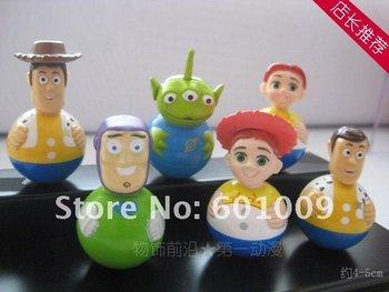 Free shipping EMS 100/Lot 6pcs Toy Story Woody Buzz Green Man Tumbler Figure Set Wholesale