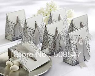 100 Pcs Silver Ribbon Wedding favour box Party Candy Box Favor Gift Boxes wedding box free shipping
