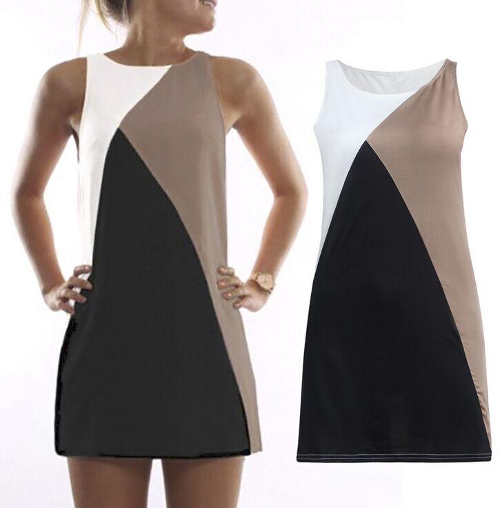 Sumemr Patchwork Women Casual Dress Slevess Elegant Color Block Straight Slim Fiit Mini Shift Dress For Women Vestidos Femininos(China (Mainland))