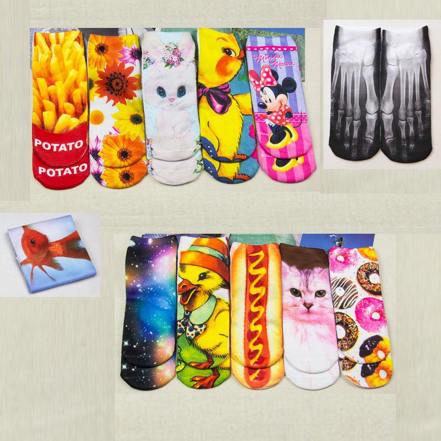 Whosale cute 3D Socks beauty short Women socks printed funny socks womens cotton sock white cat Multiple Colors for girls soksОдежда и ак�е��уары<br><br><br>Aliexpress