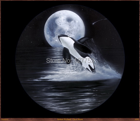 Modern Home Decor sitting room decorate Art Wall Picture HD Prints on Canvas Oil Paintin  (Orca Moon) 102