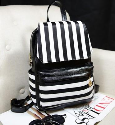 The New Backpack Màu đen và trắng sọc ba lô giải trí túi da PU người phụ nữ(China (Mainland))