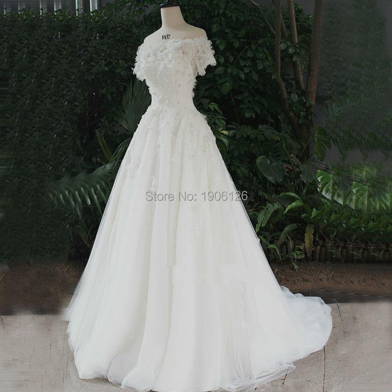 Vestido novia сктв реалов Cuatom сделал свадебные платья бусины свадебные платья линии кнопки с плеча Boda 2016