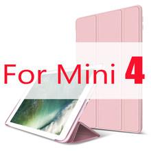 Funda para iPad Mini 4 3 2 1 caso de cuero de la PU de silicona suave triple soporte Auto cubierta inteligente para iPad Mini 2 Funda(China)