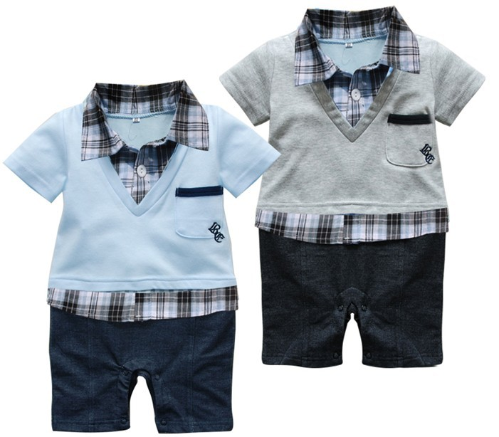 New 2014 Baby romper/Boys Gentleman style short-sleeved clothing set baby suit wear kids clothes sets/ Grey and Blue colors(China (Mainland))