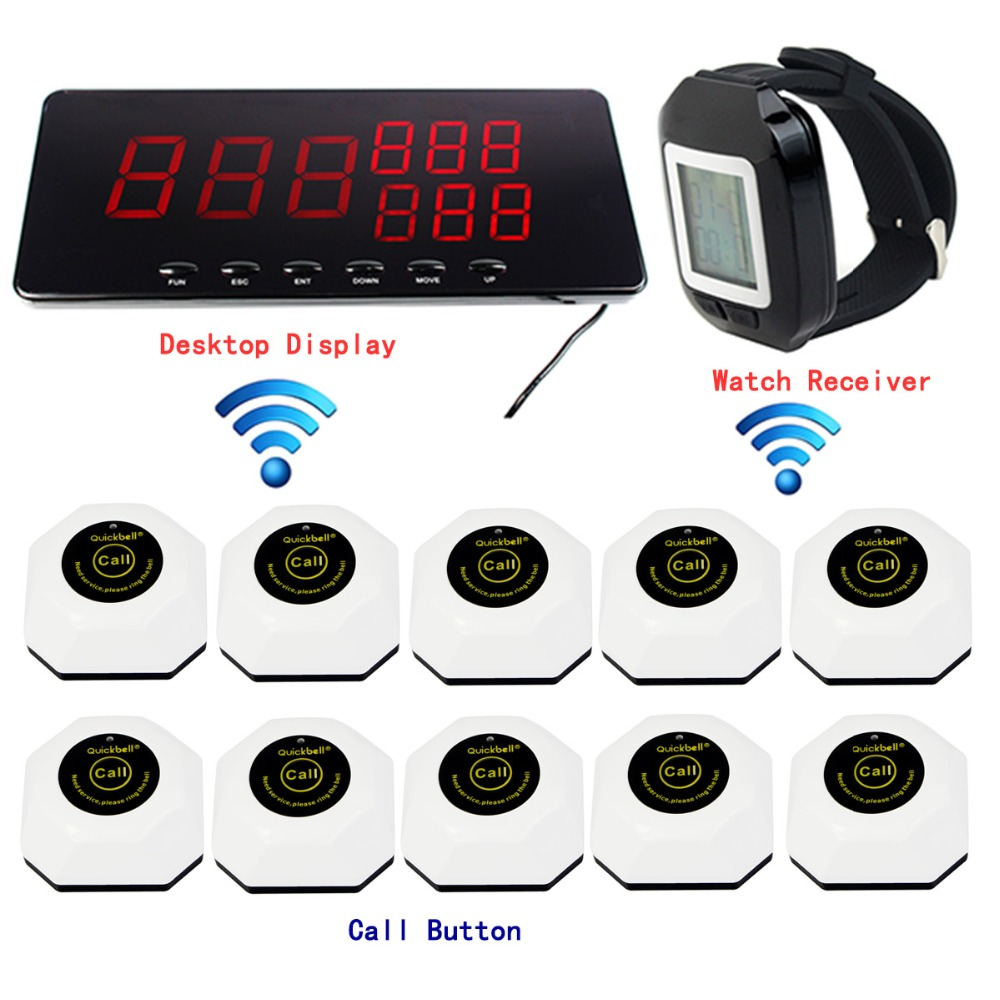 433.92MHz Wireless Restaurant Paging Queuing System with 1 Receiver Host+ 1 Watch Receiver+ 10pcs Call Transmitter Button F3216A(China (Mainland))