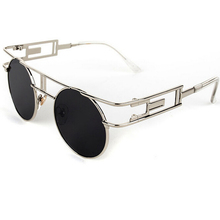 Cool Gothic Style Round Sunglasses For Women Vintage Steampunk Metal Retro Coating Sun Glasses Reflective gafas de sol mujer 883