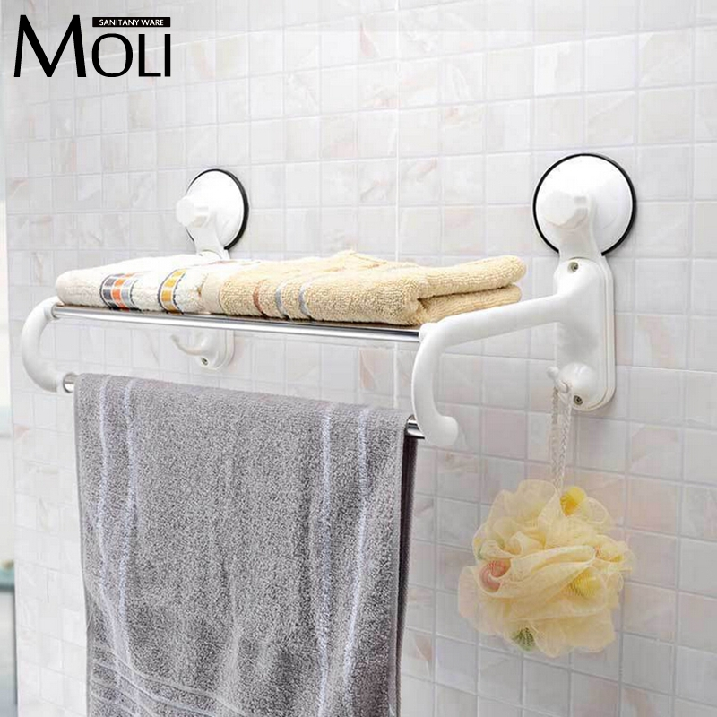 Suction towel holder plastic towel rack with bar and hooks wall suction cup towel shelf bathroom accessories(China (Mainland))