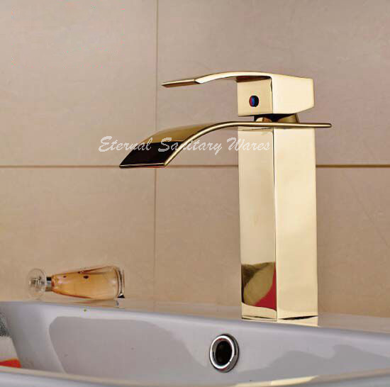 Solid Brass Gold Plated Basin Mixer Waterfall Faucet Single Hole Gold Faucet Bathroom Tap