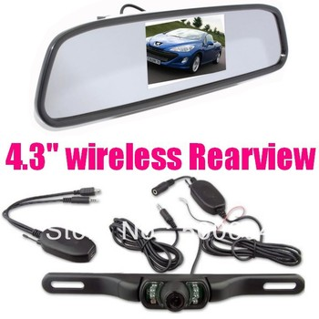Wireless ir night vision parking cameras system + 4.3 inch LCD mirror Monitor Car camea Rear view Reversing backup sensor kit