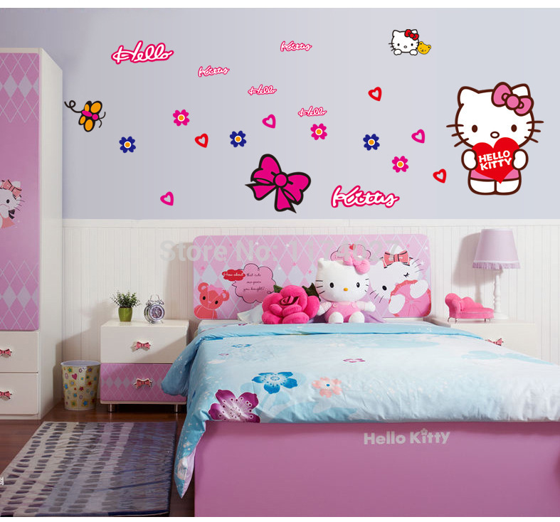 Free shipping Cute Hello Kitty Wall Sticker Home Decor Kitty car stickers Mural decals for kids rooms adhesive decoration(China (Mainland))