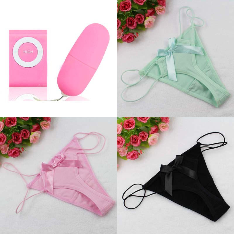 4pcs/set Underwear Women Cotton Underpants sexy Panties Vibrator Thongs Bowknot Lingerie G-String wife lover girlfriend gift(China (Mainland))