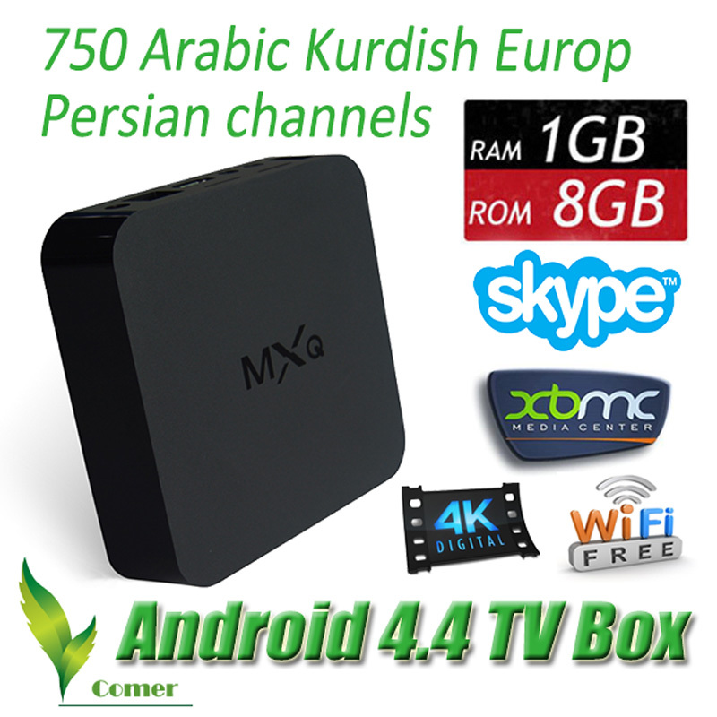 MXQ Android TV Box Amlogic S805 Quad Core with 750 World TV Europ Arabic channels Smart TV 1G/8G XBMC MXQ S805 Media Player(China (Mainland))